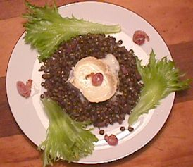 Goats cheese on puy lentils