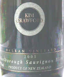 Label of Kim Crawford Sauvignon Blanc 2001