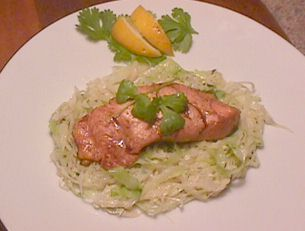 Salmon on a bed of cabbage