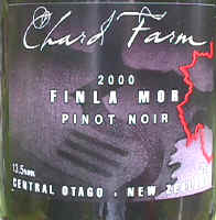 Chard Farm pinot noir label